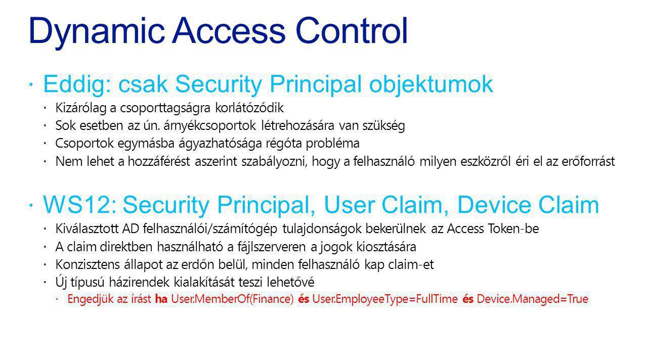 Dynamic Access Control  Eddig: csak Security Principal objektumok  Kizárólag a csoporttagságra korlátózódik  Sok esetben az ún. árnyékcsoportok lét