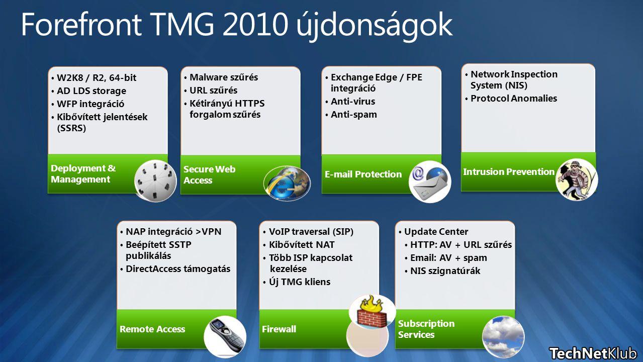 Malware szűrés URL szűrés Kétirányú HTTPS forgalom szűrés Secure Web Access VoIP traversal (SIP) Kibővített NAT Több ISP kapcsolat kezelése Új TMG kliens Firewall Exchange Edge / FPE integráció Anti-virus Anti-spam E-mail Protection Network Inspection System (NIS) Protocol Anomalies Intrusion Prevention NAP integráció >VPN Beépített SSTP publikálás DirectAccess támogatás Remote Access W2K8 / R2, 64-bit AD LDS storage WFP integráció Kibővített jelentések (SSRS) Deployment & Management Update Center HTTP: AV + URL szűrés Email: AV + spam NIS szignatúrák Subscription Services 4