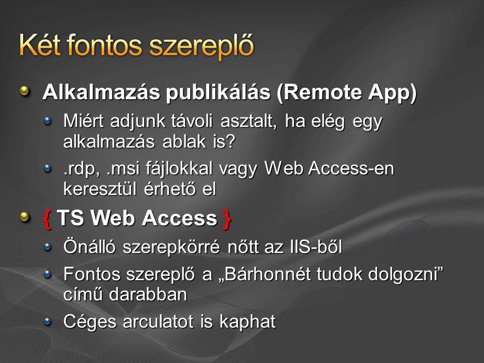 """Alkalmazás publikálás (Remote App) Miért adjunk távoli asztalt, ha elég egy alkalmazás ablak is?.rdp,.msi fájlokkal vagy Web Access-en keresztül érhető el { TS Web Access } Önálló szerepkörré nőtt az IIS-ből Fontos szereplő a """"Bárhonnét tudok dolgozni című darabban Céges arculatot is kaphat"""
