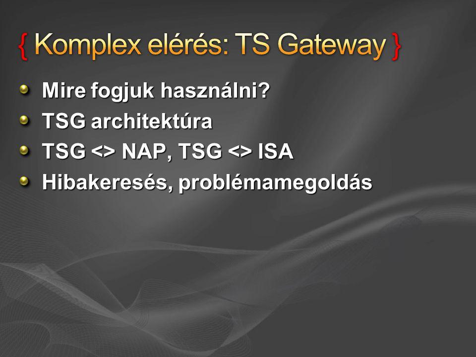 Mire fogjuk használni? TSG architektúra TSG <> NAP, TSG <> ISA Hibakeresés, problémamegoldás