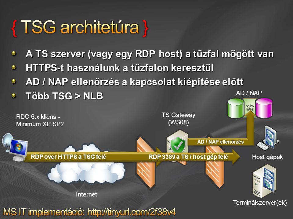A TS szerver (vagy egy RDP host) a tűzfal mögött van HTTPS-t használunk a tűzfalon keresztül AD / NAP ellenőrzés a kapcsolat kiépítése előtt Több TSG > NLB AD / NAP HTTPS kapcsolat indítása a TS Gateway felé Host gépek TS Gateway (WS08) Internet Terminálszerver(ek) RDP over HTTPS a TSG felé RDP 3389 a TS / host gép felé AD / NAP ellenőrzés RDC 6.x kliens - Minimum XP SP2