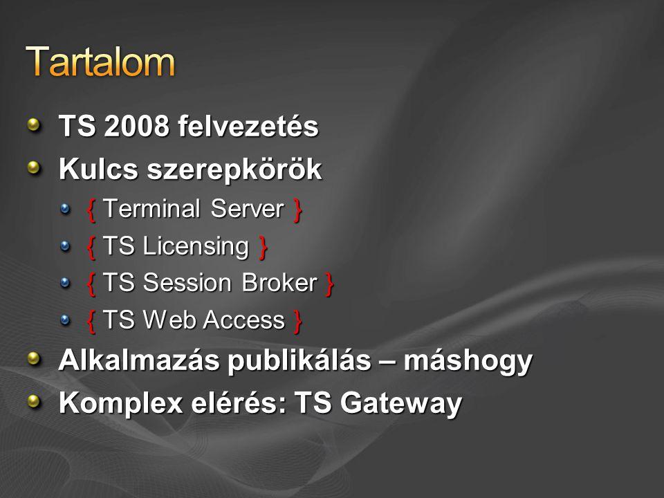 TS 2008 felvezetés Kulcs szerepkörök { Terminal Server } { TS Licensing } { TS Session Broker } { TS Web Access } Alkalmazás publikálás – máshogy Komplex elérés: TS Gateway