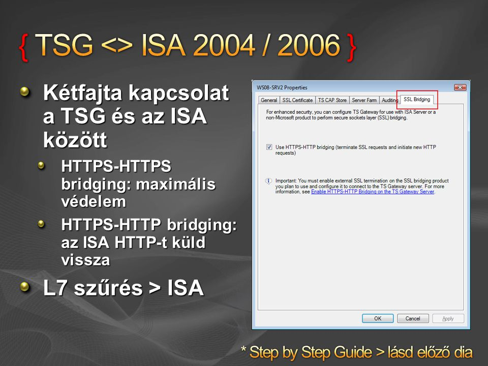 Kétfajta kapcsolat a TSG és az ISA között HTTPS-HTTPS bridging: maximális védelem HTTPS-HTTP bridging: az ISA HTTP-t küld vissza L7 szűrés > ISA