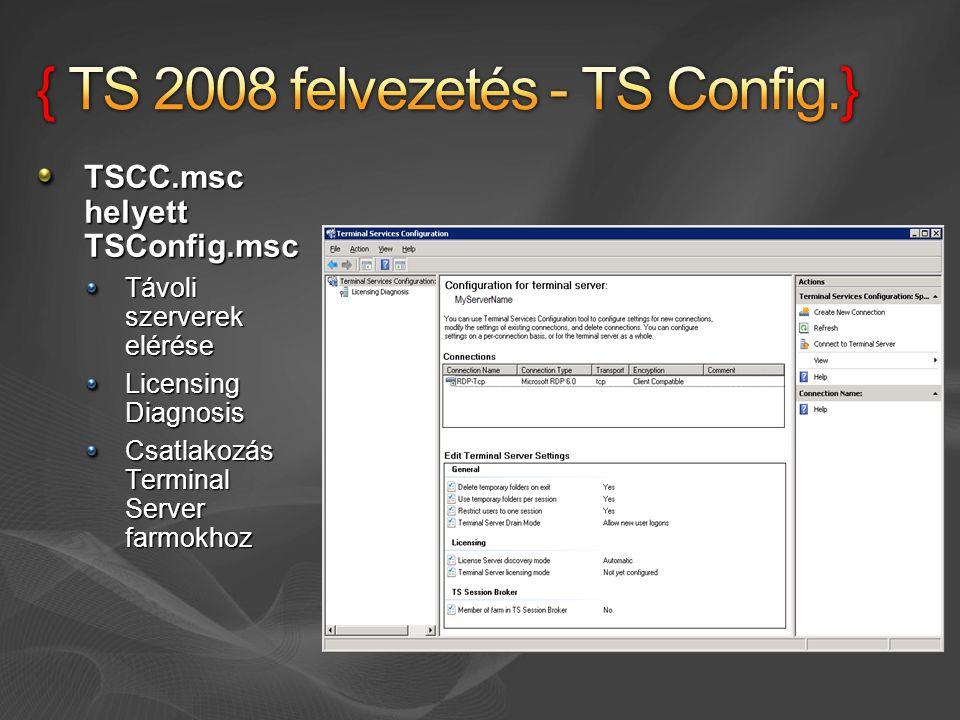 TSCC.msc helyett TSConfig.msc Távoli szerverek elérése Licensing Diagnosis Csatlakozás Terminal Server farmokhoz