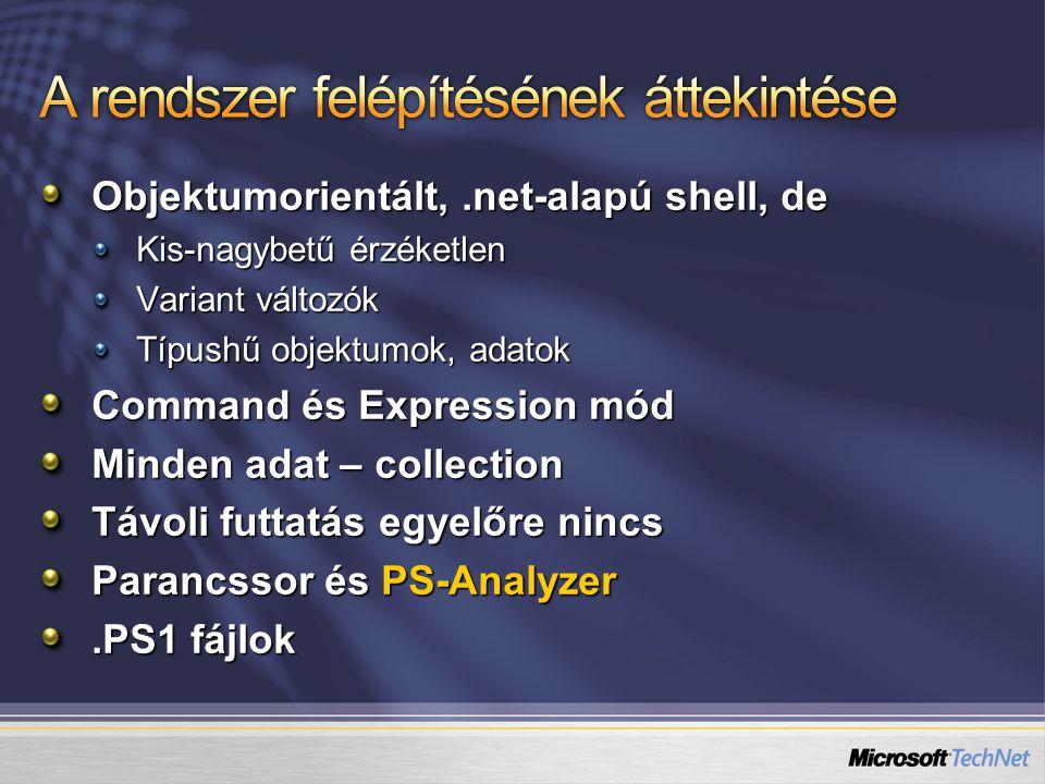 Objektumorientált,.net-alapú shell, de Kis-nagybetű érzéketlen Variant változók Típushű objektumok, adatok Command és Expression mód Minden adat – collection Távoli futtatás egyelőre nincs Parancssor és PS-Analyzer.PS1 fájlok