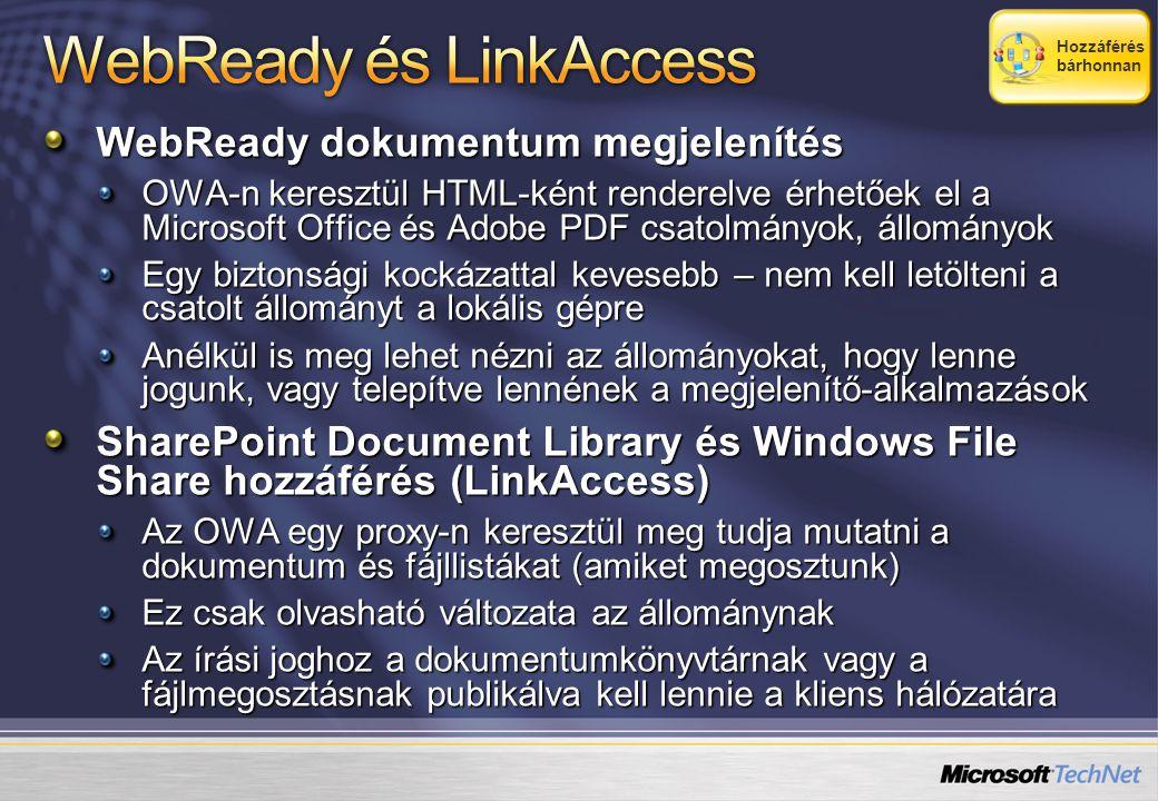 WebReady dokumentum megjelenítés OWA-n keresztül HTML-ként renderelve érhetőek el a Microsoft Office és Adobe PDF csatolmányok, állományok Egy biztonsági kockázattal kevesebb – nem kell letölteni a csatolt állományt a lokális gépre Anélkül is meg lehet nézni az állományokat, hogy lenne jogunk, vagy telepítve lennének a megjelenítő-alkalmazások SharePoint Document Library és Windows File Share hozzáférés (LinkAccess) Az OWA egy proxy-n keresztül meg tudja mutatni a dokumentum és fájllistákat (amiket megosztunk) Ez csak olvasható változata az állománynak Az írási joghoz a dokumentumkönyvtárnak vagy a fájlmegosztásnak publikálva kell lennie a kliens hálózatára Hozzáférés bárhonnan