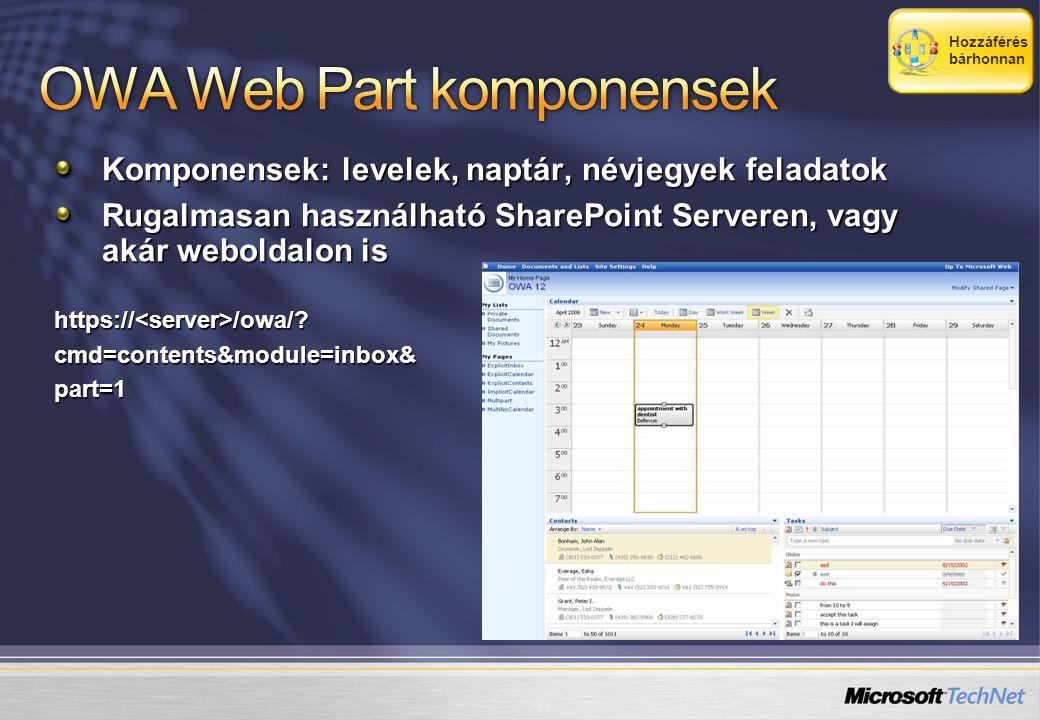 Komponensek: levelek, naptár, névjegyek feladatok Rugalmasan használható SharePoint Serveren, vagy akár weboldalon is https://<server>/owa/ cmd=contents&module=inbox&part=1 Hozzáférés bárhonnan