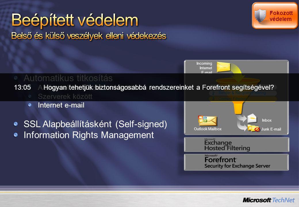 E2003 CAL verziók E2007 CAL verziók Akiknek többletszolgáltatásokra van szüksége: Egységes üzenetküldés (UM) Többszörös vírus- és spam elleni védelem Olyan szervezeteknek, melyeknek funkciógazdag üzenetküldési szolgáltatásokra van szükségük Kinek ideális.