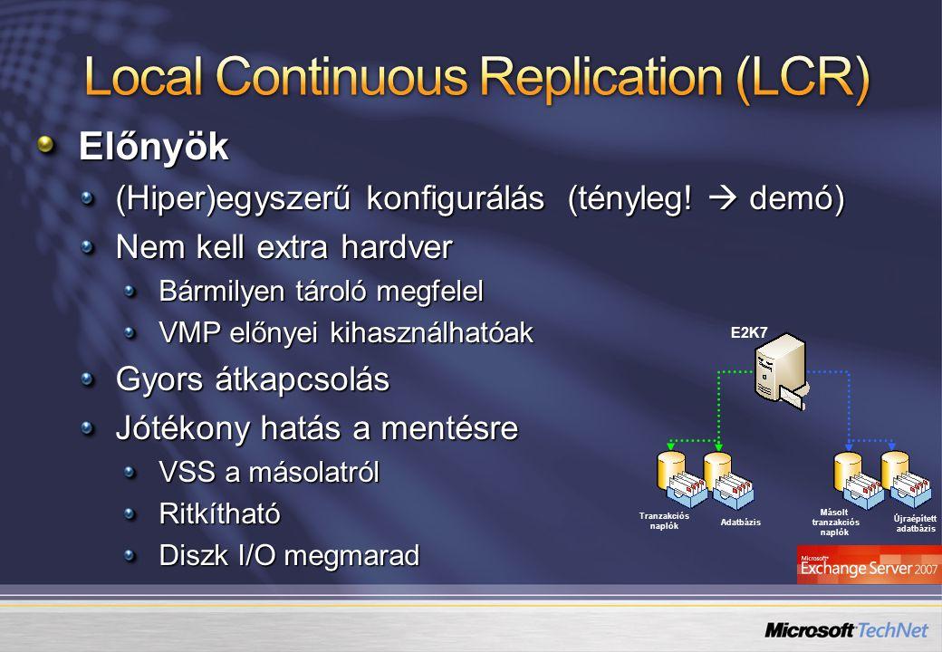 Adatbázis Tranzakciós naplók E2K7 Újraépített adatbázis Másolt tranzakciós naplók Előnyök (Hiper)egyszerű konfigurálás (tényleg!  demó) Nem kell extr