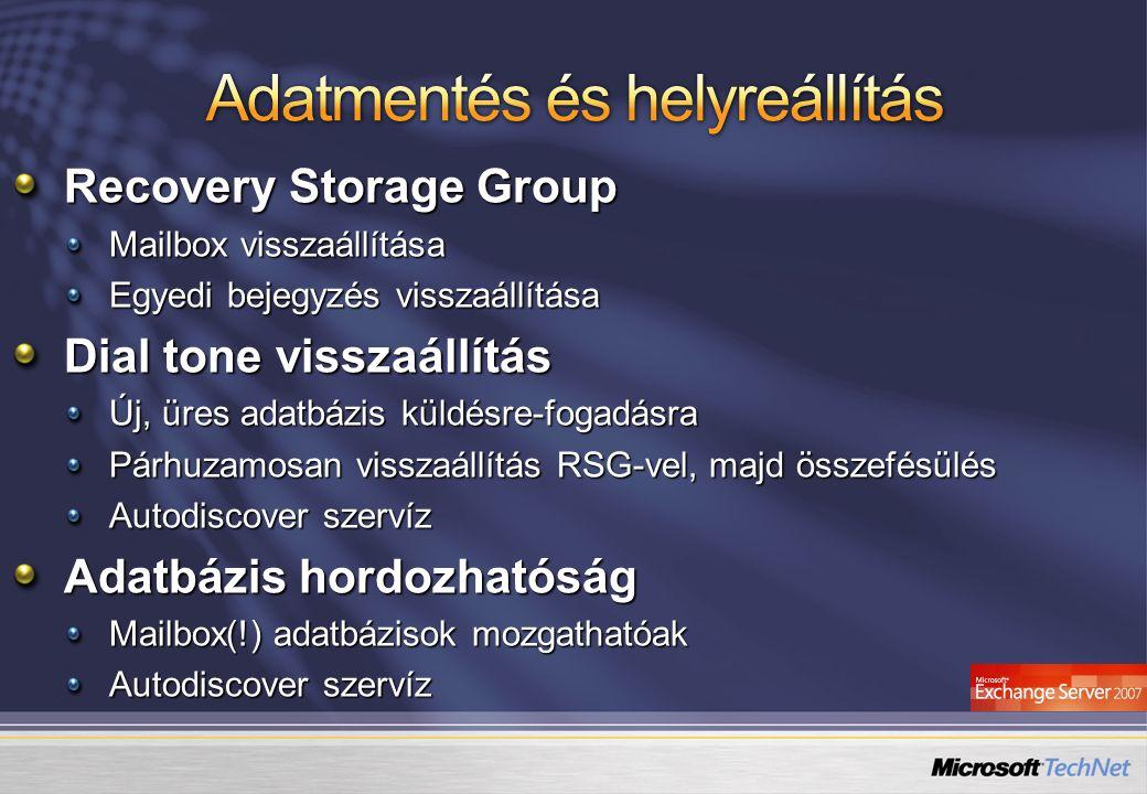 Recovery Storage Group Mailbox visszaállítása Egyedi bejegyzés visszaállítása Dial tone visszaállítás Új, üres adatbázis küldésre-fogadásra Párhuzamos