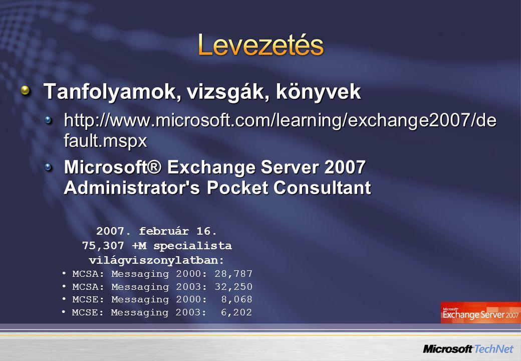 Tanfolyamok, vizsgák, könyvek http://www.microsoft.com/learning/exchange2007/de fault.mspx Microsoft® Exchange Server 2007 Administrator's Pocket Cons