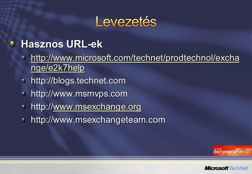 Hasznos URL-ek http://www.microsoft.com/technet/prodtechnol/excha nge/e2k7help http://www.microsoft.com/technet/prodtechnol/excha nge/e2k7help http://