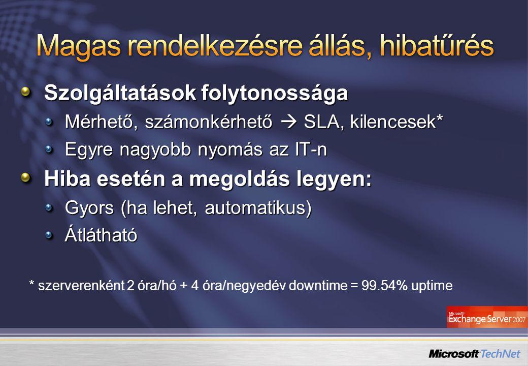 Szolgáltatások folytonossága Mérhető, számonkérhető  SLA, kilencesek* Egyre nagyobb nyomás az IT-n Hiba esetén a megoldás legyen: Gyors (ha lehet, au