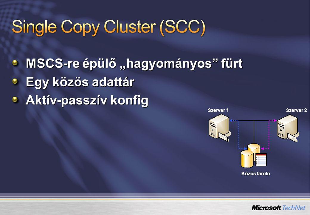 """MSCS-re épülő """"hagyományos"""" fürt Egy közös adattár Aktív-passzív konfig Közös tároló Szerver 1Szerver 2"""