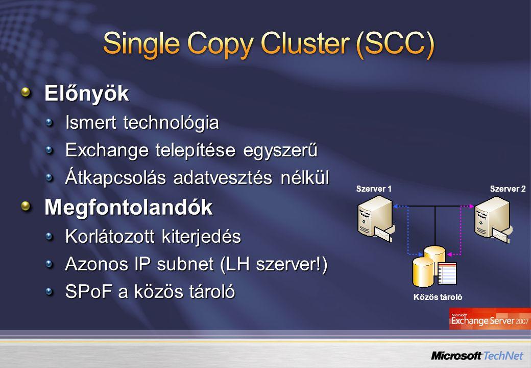 Közös tároló Szerver 1Szerver 2Előnyök Ismert technológia Exchange telepítése egyszerű Átkapcsolás adatvesztés nélkül Megfontolandók Korlátozott kiter