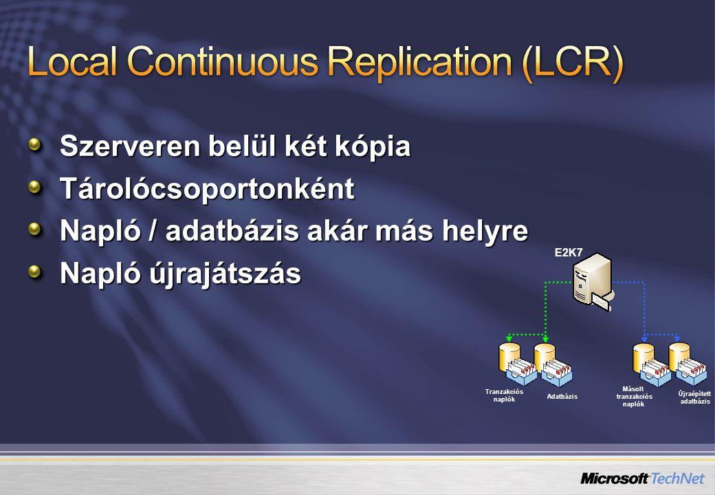Szerveren belül két kópia Tárolócsoportonként Napló / adatbázis akár más helyre Napló újrajátszás Adatbázis Tranzakciós naplók E2K7 Újraépített adatbá