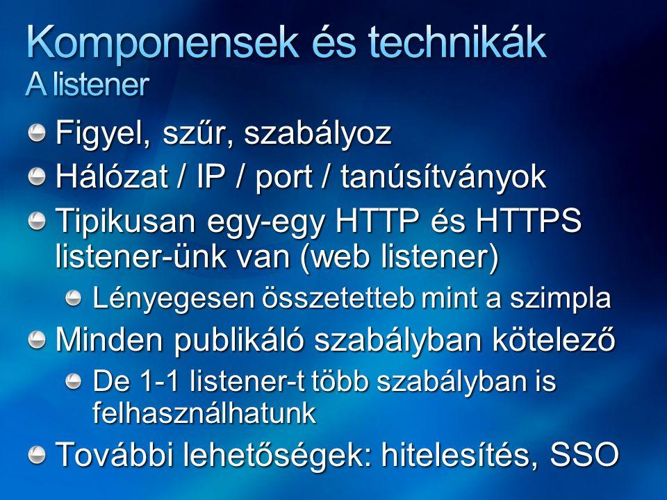 Figyel, szűr, szabályoz Hálózat / IP / port / tanúsítványok Tipikusan egy-egy HTTP és HTTPS listener-ünk van (web listener) Lényegesen összetetteb min