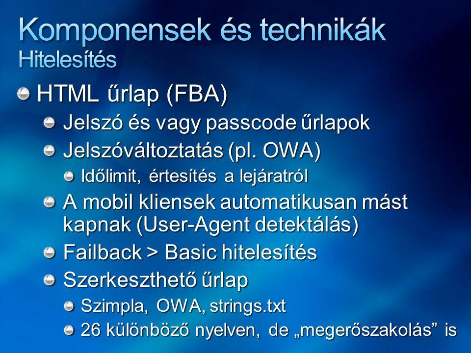 HTML űrlap (FBA) Jelszó és vagy passcode űrlapok Jelszóváltoztatás (pl. OWA) Időlimit, értesítés a lejáratról A mobil kliensek automatikusan mást kapn