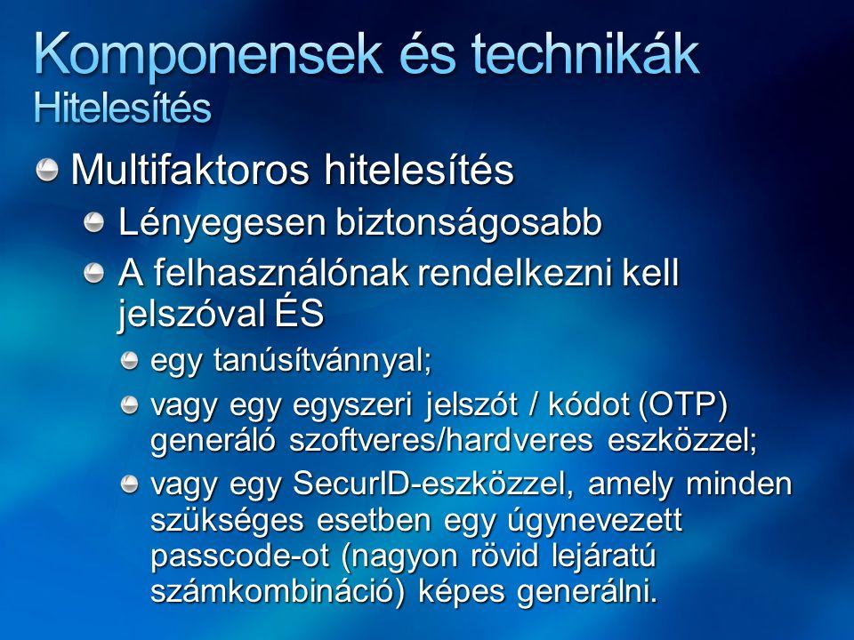 Multifaktoros hitelesítés Lényegesen biztonságosabb A felhasználónak rendelkezni kell jelszóval ÉS egy tanúsítvánnyal; vagy egy egyszeri jelszót / kód