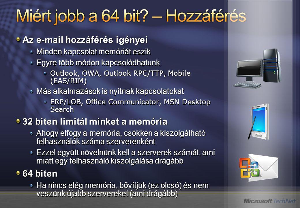 Az e-mail hozzáférés igényei Minden kapcsolat memóriát eszik Egyre több módon kapcsolódhatunk Outlook, OWA, Outlook RPC/TTP, Mobile (EAS/RIM) Más alkalmazások is nyitnak kapcsolatokat ERP/LOB, Office Communicator, MSN Desktop Search 32 biten limitál minket a memória Ahogy elfogy a memória, csökken a kiszolgálható felhasználók száma szerverenként Ezzel együtt növelnünk kell a szerverek számát, ami miatt egy felhasználó kiszolgálása drágább 64 biten Ha nincs elég memória, bővítjük (ez olcsó) és nem veszünk újabb szervereket (ami drágább)