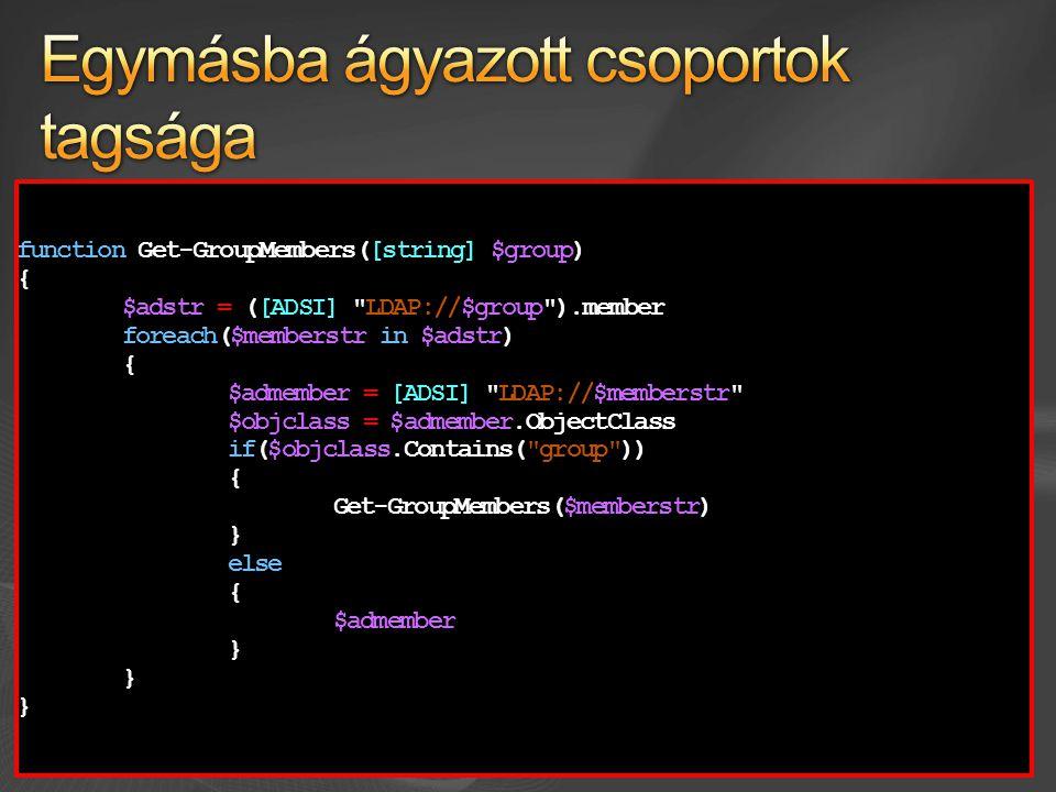 Megszokást igényel function get-propertyvalue($object) { $result = @{} $result = @{} $proplist = $object | Get-Member -MemberType property, scriptproperty $proplist = $object | Get-Member -MemberType property, scriptproperty foreach ($element in $proplist) foreach ($element in $proplist) { if ($propvalue = $object.($element.Name)) if ($propvalue = $object.($element.Name)) { $result.($element.Name) = $propvalue $result.($element.Name) = $propvalue } } $result $result} function get-propertyvalue($object) { $result = @{} $result = @{} $object | Get-Member -MemberType property, scriptproperty | $object | Get-Member -MemberType property, scriptproperty | Where-Object { $object.($_.Name) } | Where-Object { $object.($_.Name) } | ForEach-Object { $result.($_.Name) = $object.($_.Name) } ForEach-Object { $result.($_.Name) = $object.($_.Name) } $result $result}