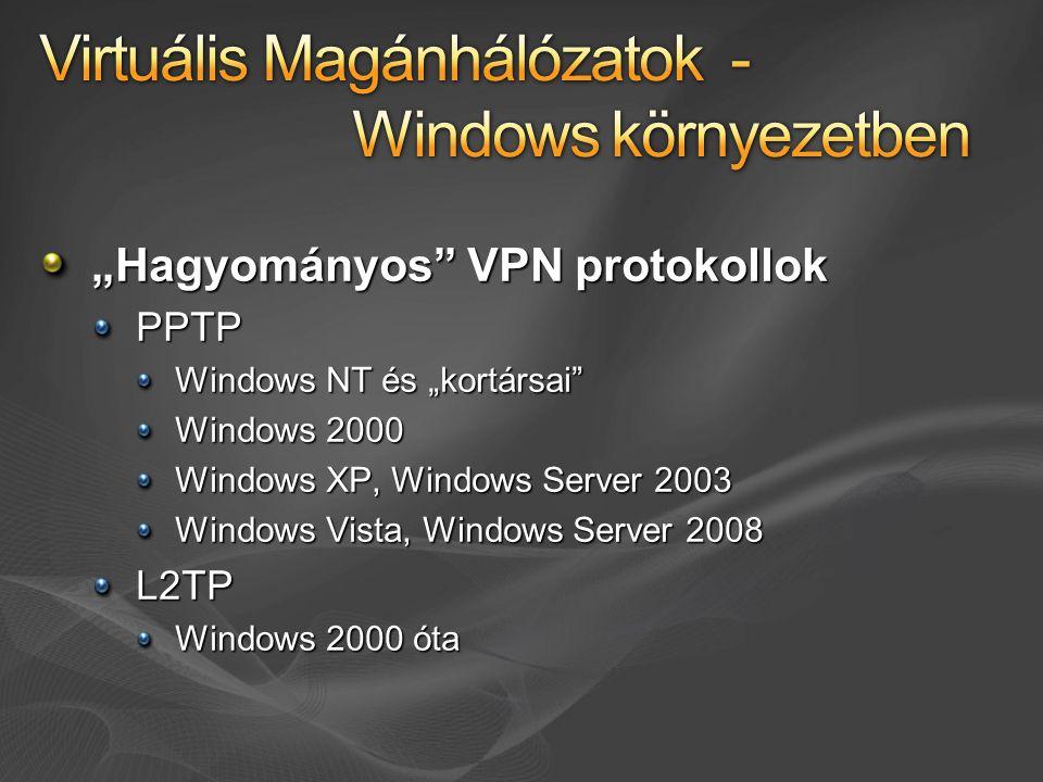 """""""Hagyományos"""" VPN protokollok PPTP Windows NT és """"kortársai"""" Windows 2000 Windows XP, Windows Server 2003 Windows Vista, Windows Server 2008 L2TP Wind"""