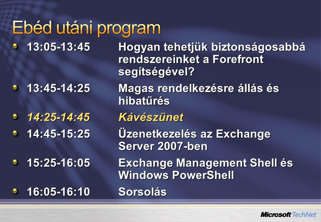 13:05-13:45Hogyan tehetjük biztonságosabbá rendszereinket a Forefront segítségével.