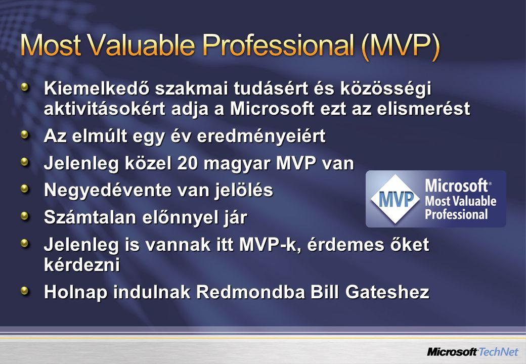 Kiemelkedő szakmai tudásért és közösségi aktivitásokért adja a Microsoft ezt az elismerést Az elmúlt egy év eredményeiért Jelenleg közel 20 magyar MVP van Negyedévente van jelölés Számtalan előnnyel jár Jelenleg is vannak itt MVP-k, érdemes őket kérdezni Holnap indulnak Redmondba Bill Gateshez