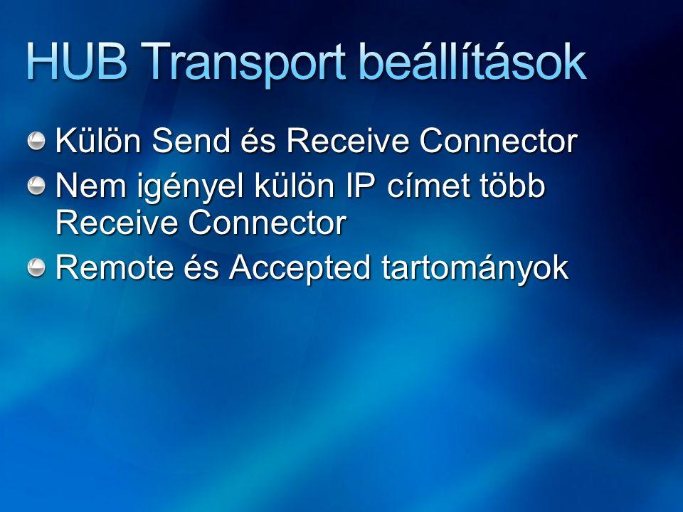 Külön Send és Receive Connector Nem igényel külön IP címet több Receive Connector Remote és Accepted tartományok