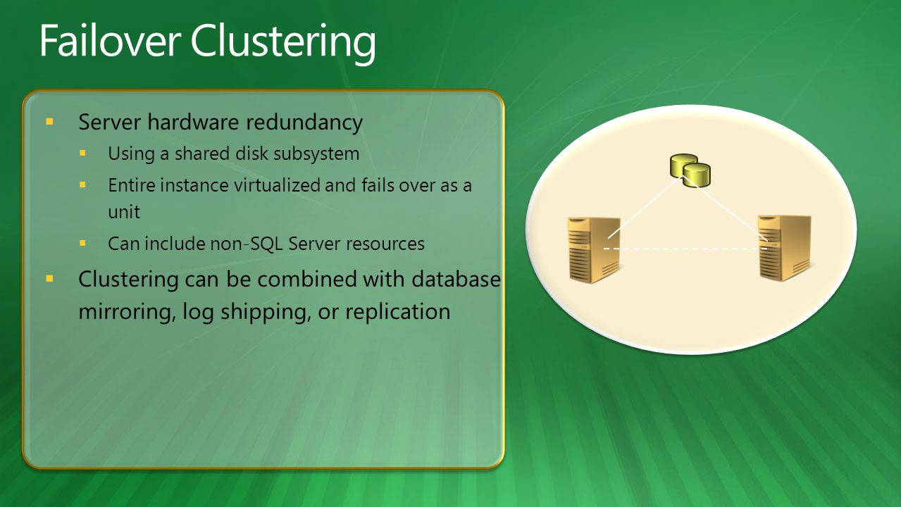  Server hardware redundancy  Using a shared disk subsystem  Entire instance virtualized and fails over as a unit  Can include non-SQL Server resources  Clustering can be combined with database mirroring, log shipping, or replication