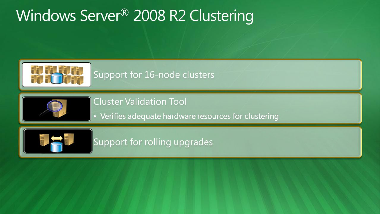 Support for 16-node clusters Cluster Validation Tool Verifies adequate hardware resources for clustering Support for rolling upgrades