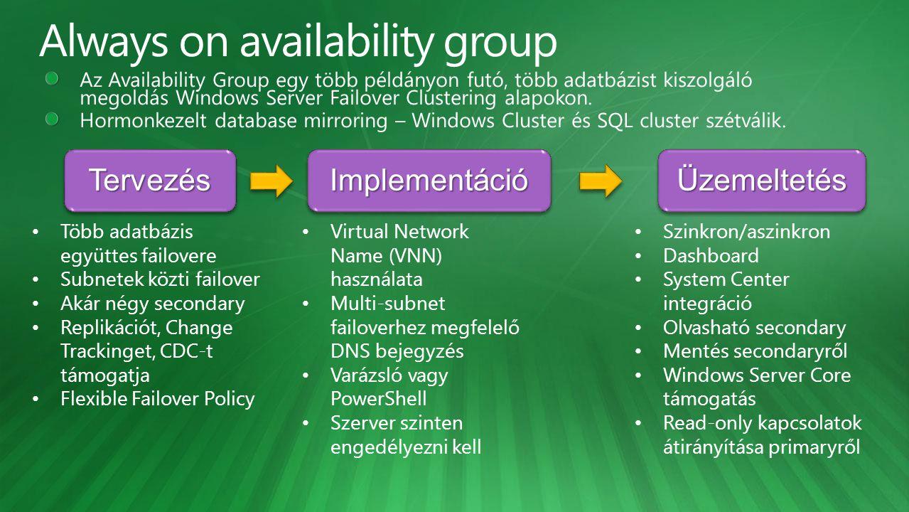 TervezésTervezés Implementáció ÜzemeltetésÜzemeltetés Több adatbázis együttes failovere Subnetek közti failover Akár négy secondary Replikációt, Change Trackinget, CDC-t támogatja Flexible Failover Policy Virtual Network Name (VNN) használata Multi-subnet failoverhez megfelelő DNS bejegyzés Varázsló vagy PowerShell Szerver szinten engedélyezni kell Szinkron/aszinkron Dashboard System Center integráció Olvasható secondary Mentés secondaryről Windows Server Core támogatás Read-only kapcsolatok átirányítása primaryről