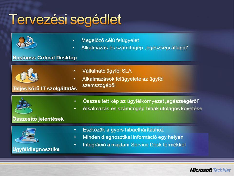 """Összesített kép az ügyfélkörnyezet """"egészségéről Alkalmazás és számítógép hibák utólagos követése Összesítő jelentések Eszközök a gyors hibaelhárításhoz Minden diagnosztikai információ egy helyen Integráció a majdani Service Desk termékkel Ügyféldiagnosztika Megelőző célú felügyelet Alkalmazás és számítógép """"egészségi állapot Business Critical Desktop Vállalható ügyfél SLA Alkalmazások felügyelete az ügyfél szemszögéből Teljes körű IT szolgáltatás"""