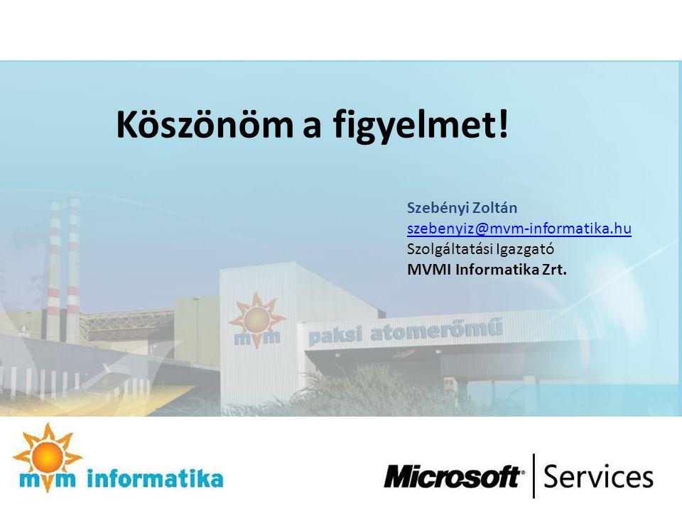 Köszönöm a figyelmet! Szebényi Zoltán szebenyiz@mvm-informatika.hu Szolgáltatási Igazgató MVMI Informatika Zrt.