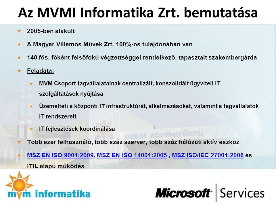 Az MVMI Informatika Zrt. bemutatása  2005-ben alakult  A Magyar Villamos Művek Zrt. 100%-os tulajdonában van  140 fős, főként felsőfokú végzettségg