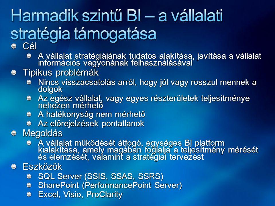 Cél A vállalat stratégiájának tudatos alakítása, javítása a vállalat információs vagyonának felhasználásával Tipikus problémák Nincs visszacsatolás ar