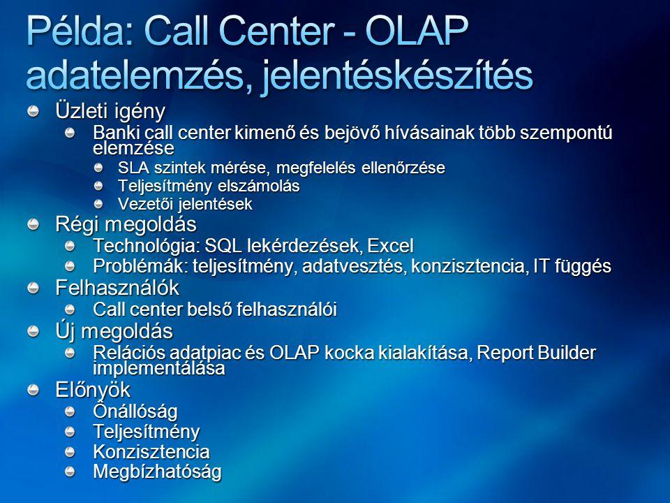 Üzleti igény Banki call center kimenő és bejövő hívásainak több szempontú elemzése SLA szintek mérése, megfelelés ellenőrzése Teljesítmény elszámolás