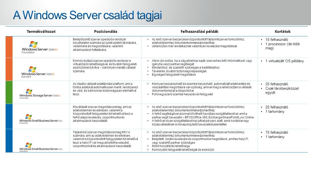 TermékváltozatPozicionálásFelhasználási példákKorlátok Belépőszintű szerver operációs rendszer kisvállalatok számára az üzleti adatok tárolására, védelmére és megosztására, valamint alkalmazások futtatására.