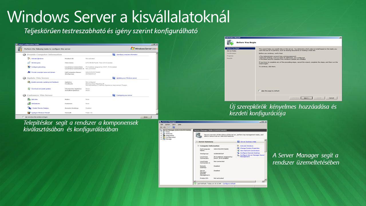 Új szerepkörök kényelmes hozzáadása és kezdeti konfigurációja A Server Manager segít a rendszer üzemeltetésében Telepítéskor segít a rendszer a komponensek kiválasztásában és konfigurálásában Teljeskörűen testreszabható és igény szerint konfigurálható