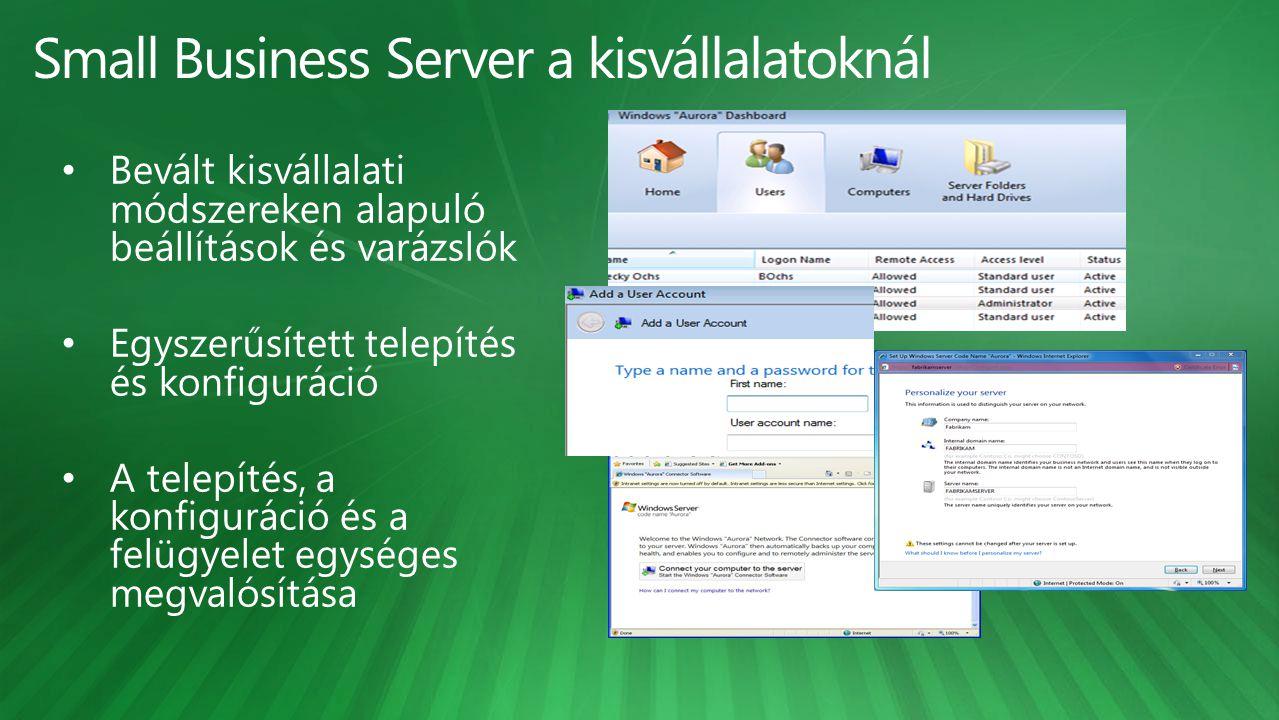 Címtár (Active Directory) Fájlszerver Printszerver Hálózat PC felügyelet Levelezés Alkalmazások, adatbázisok futtatása Irodai, vállalati környezet Otthon, Internetkávézóban, Partnernél, ügyfélnél, pl.