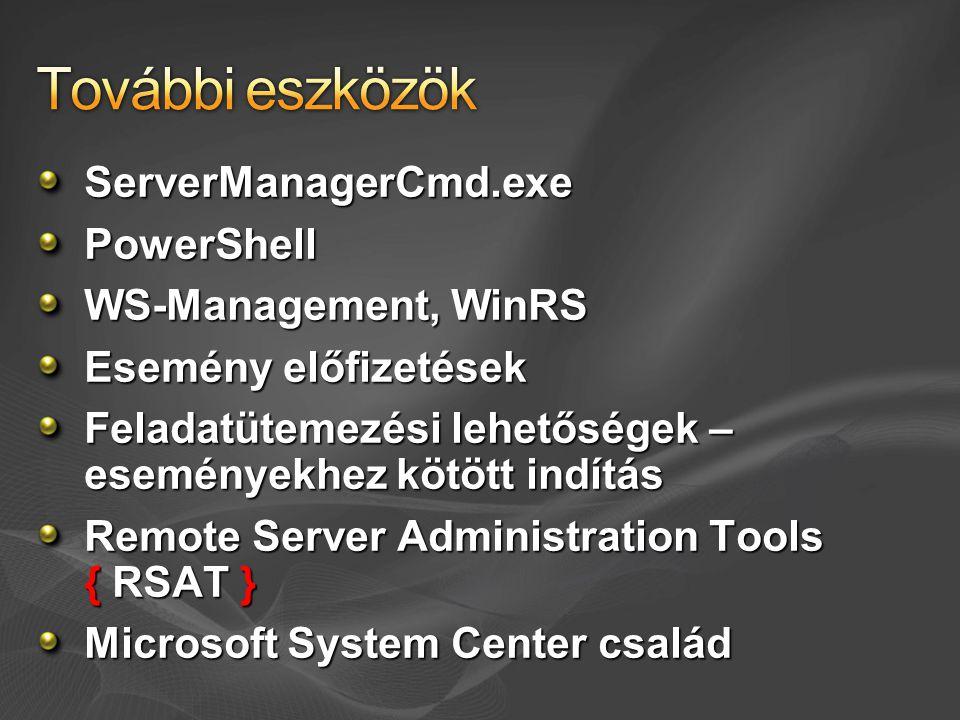 ServerManagerCmd.exePowerShell WS-Management, WinRS Esemény előfizetések Feladatütemezési lehetőségek – eseményekhez kötött indítás Remote Server Administration Tools { RSAT } Microsoft System Center család