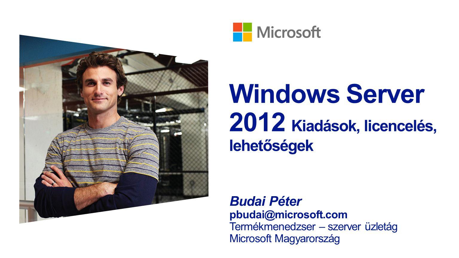 """Windows Server 2012: a felhő OS Minden alapképesség gyökeresen átalakul: biztonság, fájlszerver, hálózat, storage, szerver és desktop virtualizáció, távelérés, felügyelet Az operációs rendszer több, korábban hardverre jellemző feladatot láthat el, lényegesen olcsóbban: deduplikáció, hálózat- virtualizáció, magas rendelkezésre állású adattárolás Megújult Hyper-V: skálázhatóság, teljes Linux támogatás, replikáció, adatközpontok közötti átjárhatóság, virtuális gépek leállás nélküli költözése bármiről bármire Mainframe-szintű rendelkezésre állás és teljesítmény: redundáns és NUMA rendszerek támogatása, új lehetőségek a magas rendelkezésre állásban """"Magyarországon 2011 utolsó negyedévében a Microsoft Hyper-V piacrésze az új szerverekre szállított virtualizációs licencek tekintetében 42.6%-ra nőtt, ezzel a Hyper-V az x86-os szervervirtualizációs piac első számú termékévé vált – IDC Magyarország"""