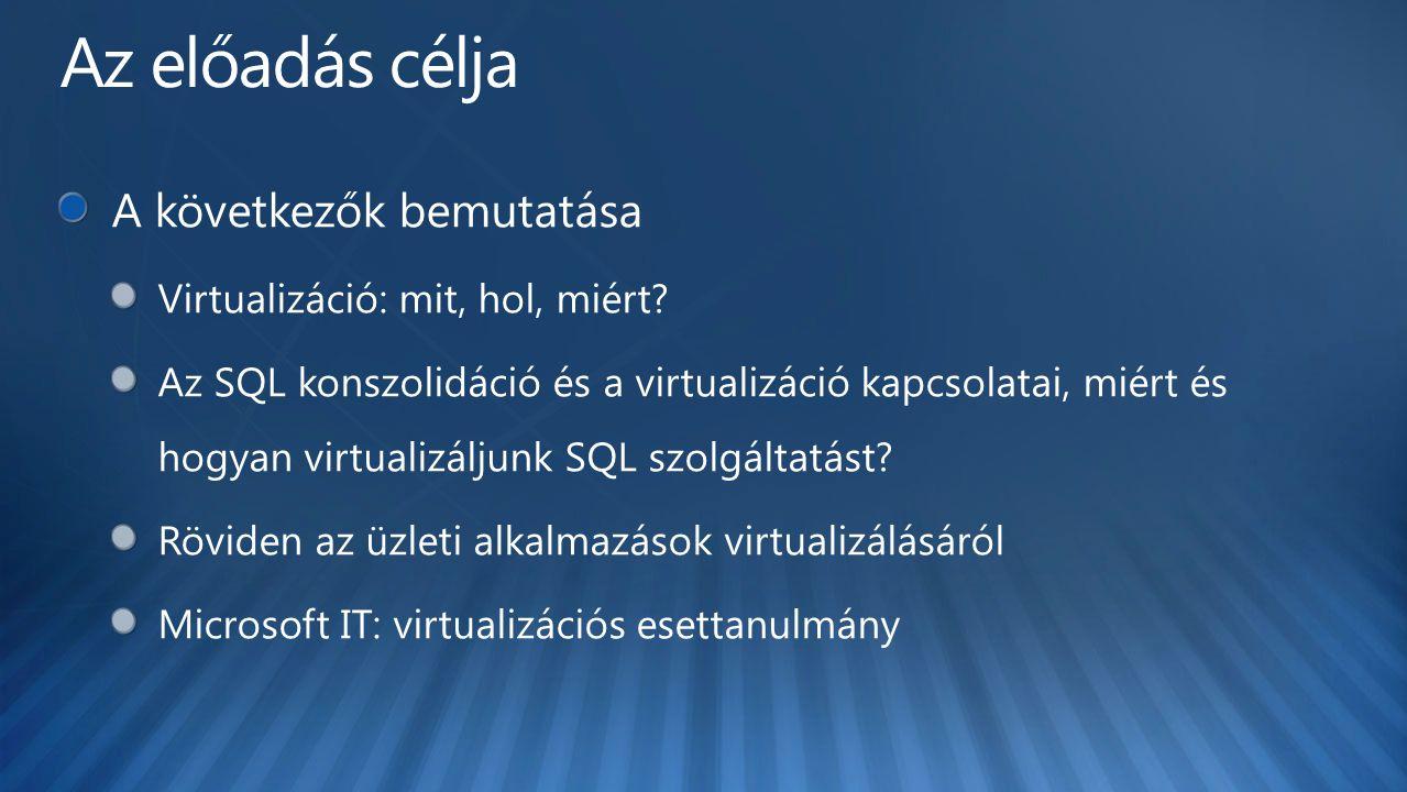 Virtuális kiszolgálók létrehozása és kezelése Erőforrások optimalizálása – Központosított virtuális gép telepítés és kezelés különöböző virtualizációs platformokon – Gyors és megbízható P2V és V2V konverzió – A virtuális gépek intelligens elhelyezése – Teljes körű alkalmazás és szolgáltatás szintű monitorozás Operations Manager és az Integrated Performance and Resource Optmization (PRO) segítségével A meglévő tudásra építve – Ismerős interfész, azonos alapok – Fizikai és virtuális kiszolgálók menedzsmentje azonos környezetben – Teljesen szkriptelhető Windows PowerShell segítségével Megnövelt rugalmasság – Gyors provizionálás a VM sablonok segítségével – Infrastruktúra komponensek központosított tárban – Meglévő háttértár infrastruktúra és fürtök kiaknázása – Virtuális kiszolgálók menedzsmentjének és hozzáférésének delegációja