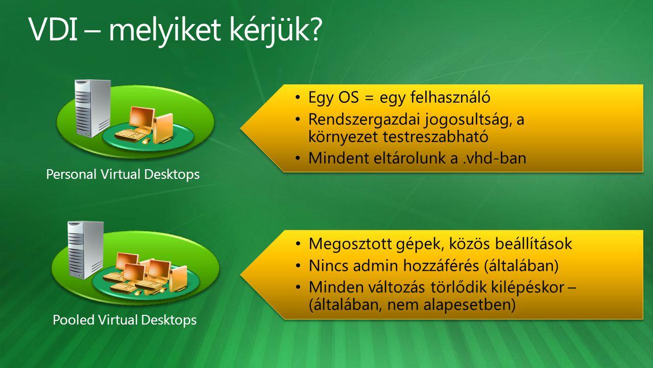 Personal Virtual Desktops Pooled Virtual Desktops Egy OS = egy felhasználó Rendszergazdai jogosultság, a környezet testreszabható Mindent eltárolunk a.vhd-ban Egy OS = egy felhasználó Rendszergazdai jogosultság, a környezet testreszabható Mindent eltárolunk a.vhd-ban Megosztott gépek, közös beállítások Nincs admin hozzáférés (általában) Minden változás törlődik kilépéskor – (általában, nem alapesetben) Megosztott gépek, közös beállítások Nincs admin hozzáférés (általában) Minden változás törlődik kilépéskor – (általában, nem alapesetben)