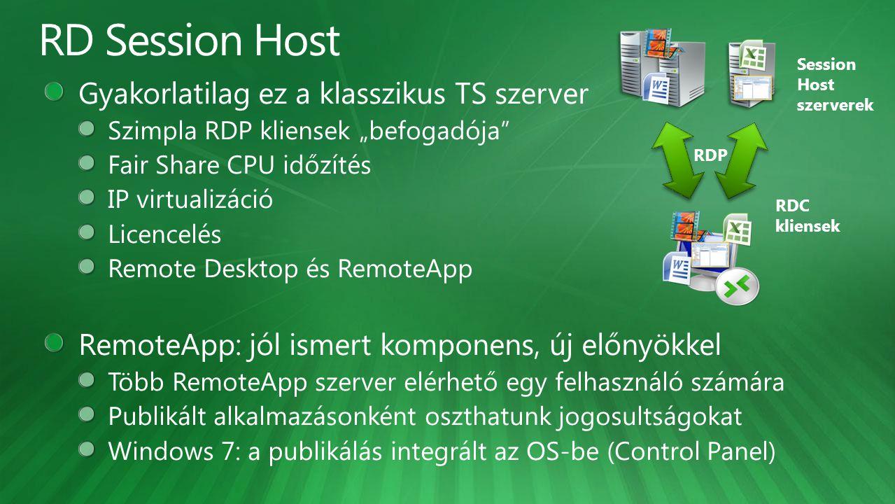 Session Host szerverek RDC kliensek RDP