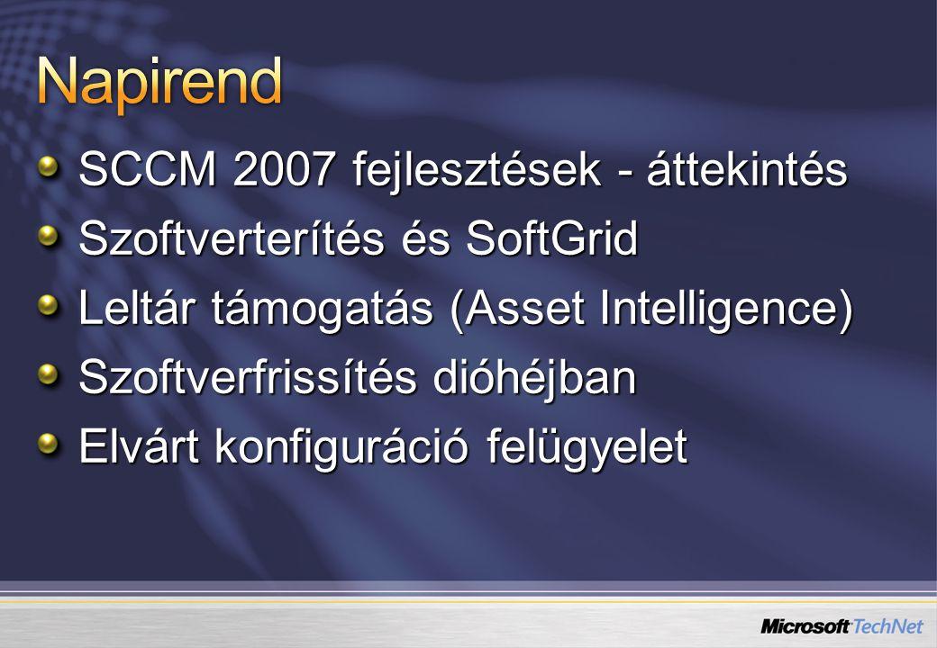 FunkcióWSUS 3.0SCCM 2007 Microsoft Update kapcsolatIgen Hierarchia kialakításaIgen BITS letöltésIgen Csomag-kategóriákIgen Időzített telepítésIgen MMC 3.0Igen Harmadik gyártó csomagjaiNemIgen Telepítési sablonokNemIgen Frissítési listákNemIgen Karbantartási ablakNemIgen Wake On LanNemIgen JelentésekNéhánySok Hibafeltáró jelentésekNemIgen Elvárt konfigurációNemIgen NAP integrációNemIgen