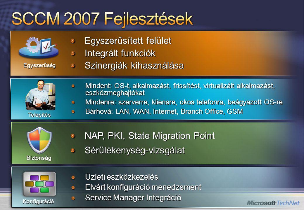 Egyszerűsített felület Integrált funkciók Szinergiák kihasználása Egyszerűség Üzleti eszközkezelés Elvárt konfiguráció menedzsment Service Manager Integráció Konfiguráció NAP, PKI, State Migration Point Sérülékenység-vizsgálat Biztonság Mindent: OS-t, alkalmazást, frissítést, virtualizált alkalmazást, eszközmeghajtókat Mindenre: szerverre, kliensre, okos telefonra, beágyazott OS-re Bárhová: LAN, WAN, Internet, Branch Office, GSM Telepítés