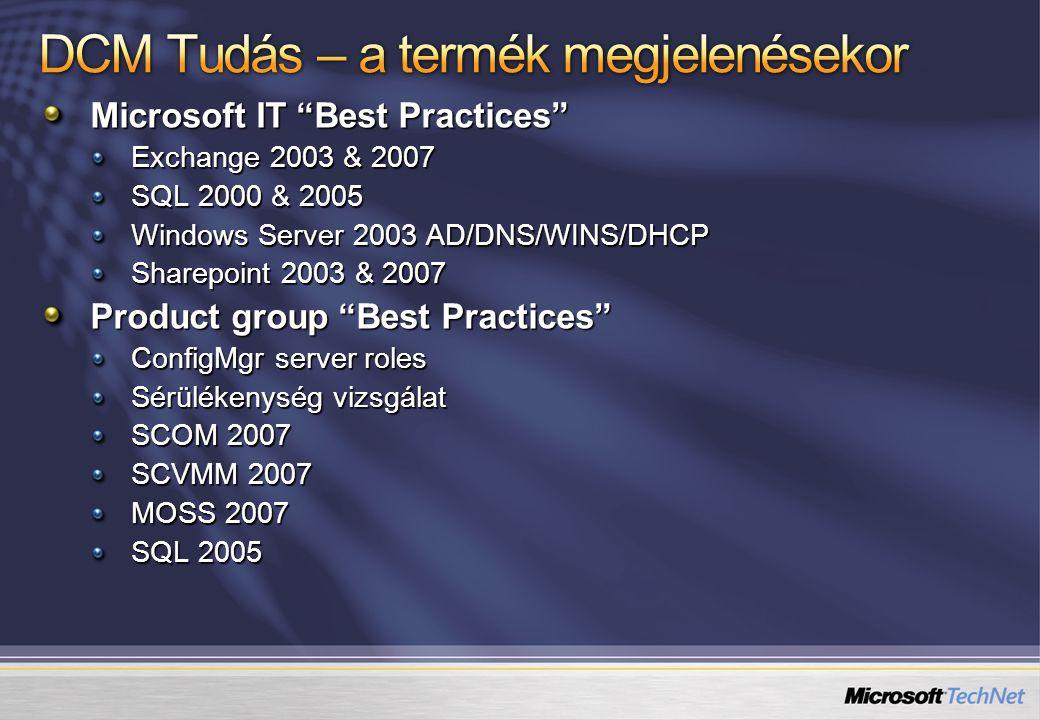 Microsoft IT Best Practices Exchange 2003 & 2007 SQL 2000 & 2005 Windows Server 2003 AD/DNS/WINS/DHCP Sharepoint 2003 & 2007 Product group Best Practices ConfigMgr server roles Sérülékenység vizsgálat SCOM 2007 SCVMM 2007 MOSS 2007 SQL 2005