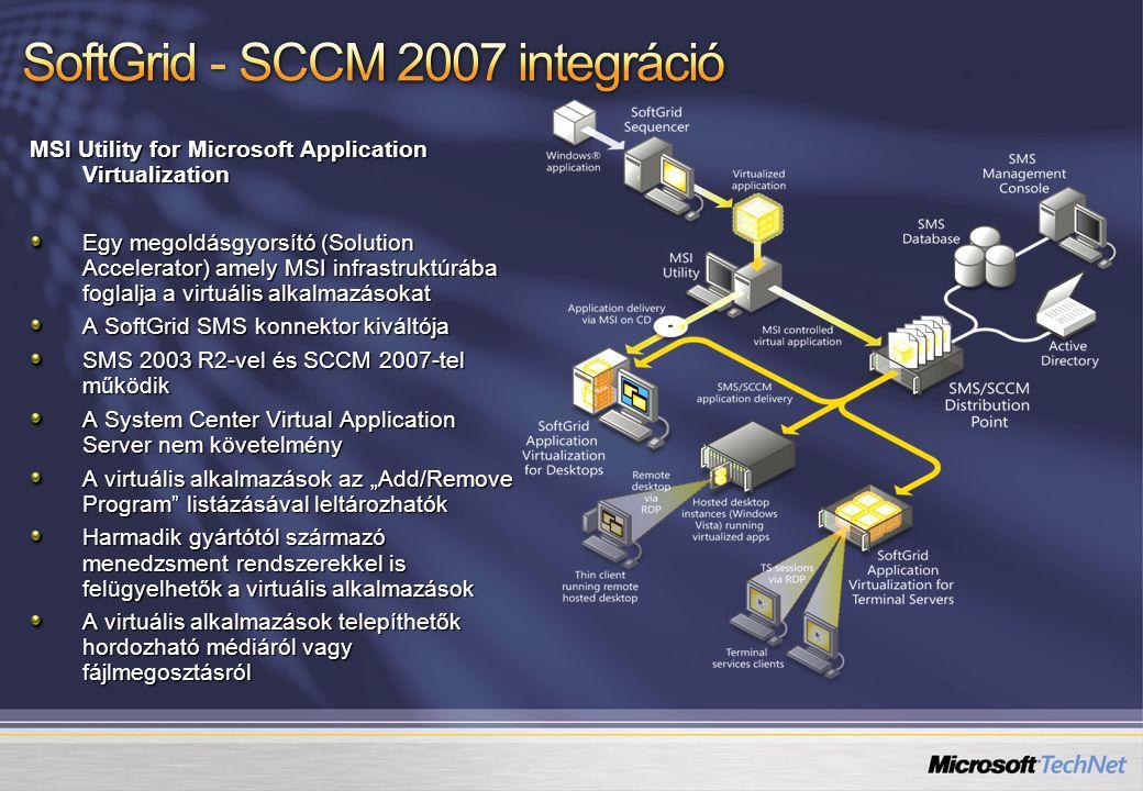 """MSI Utility for Microsoft Application Virtualization Egy megoldásgyorsító (Solution Accelerator) amely MSI infrastruktúrába foglalja a virtuális alkalmazásokat A SoftGrid SMS konnektor kiváltója SMS 2003 R2-vel és SCCM 2007-tel működik A System Center Virtual Application Server nem követelmény A virtuális alkalmazások az """"Add/Remove Program listázásával leltározhatók Harmadik gyártótól származó menedzsment rendszerekkel is felügyelhetők a virtuális alkalmazások A virtuális alkalmazások telepíthetők hordozható médiáról vagy fájlmegosztásról"""