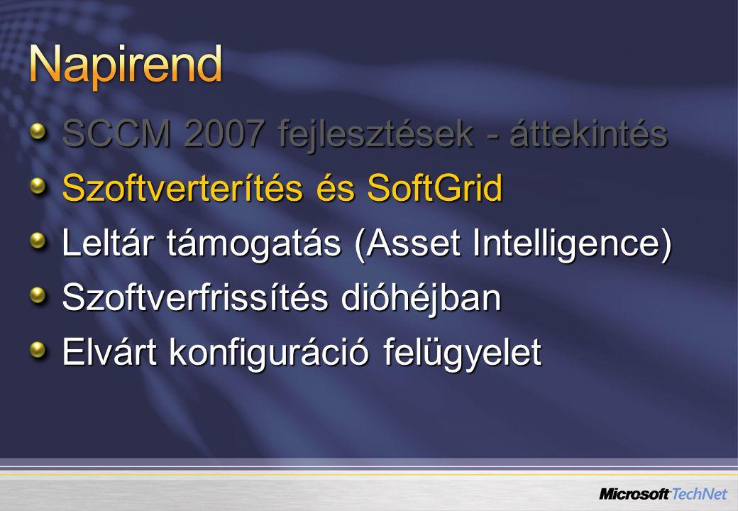 SCCM 2007 fejlesztések - áttekintés Szoftverterítés és SoftGrid Leltár támogatás (Asset Intelligence) Szoftverfrissítés dióhéjban Elvárt konfiguráció felügyelet